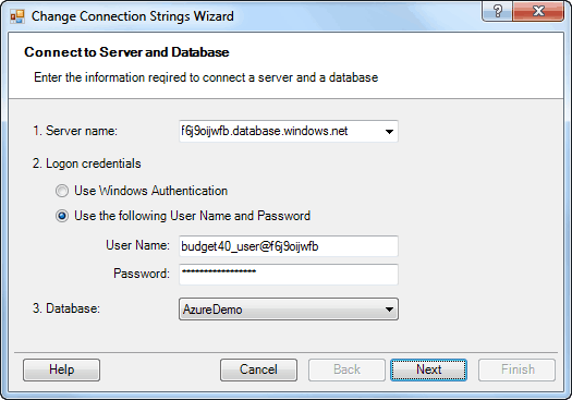 Change Connection Strings Wizard - Connect to database