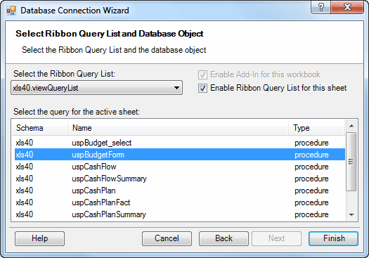 Connect to Database Wizard - Select Query List and database object