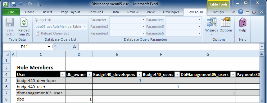 Database Management Example - Use of stored procedures as Excel event handlers
