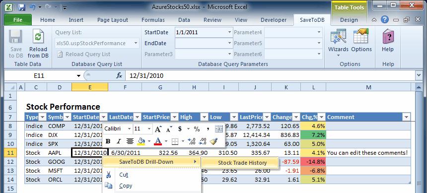 Excel Datatable Drill-Down via Context Menu