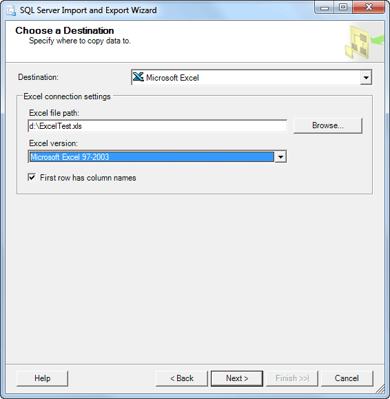 Sql server export to excel using ssis excel sql server choose a destination as excel 2003 ibookread