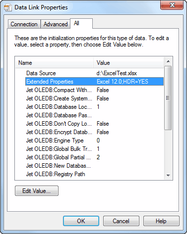 Choose a Data Source as Excel 2007 - Extended Properties Excel 12.0;HDR=YES