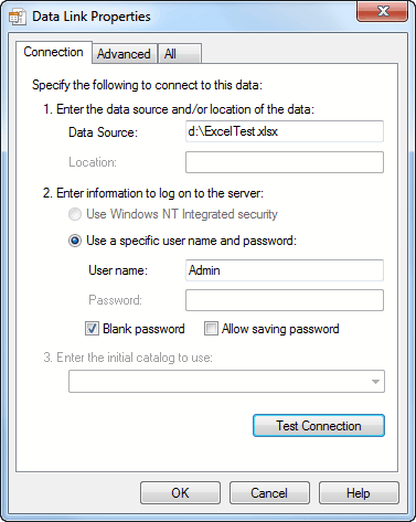 Choose a Data Source as Excel 2007 - Test Connection