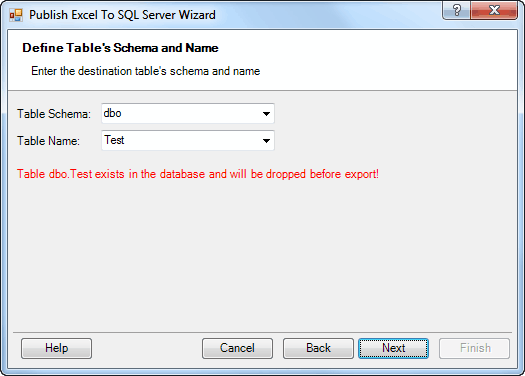 Publish Wizard - Define Schema and Name of Destination Table