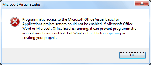 Visual Studio Office Project - Trust Access VBA Project Error