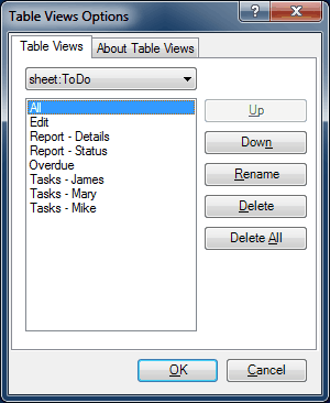 Table Views Views - Options Dialog
